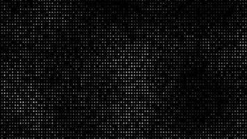 Pantalla 4k en blanco y negro con puntos brillantes y que se desvanecen