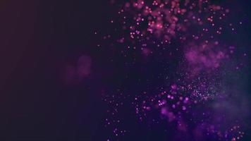 Loop of white and purple particles fading and moving on 4K dark background