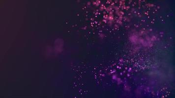 loop de partículas brancas e roxas desbotando e se movendo em um fundo escuro de 4k video