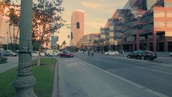 Tracking shot of streets and crosswalk at Los Angeles in 4K video