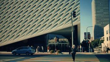 Static shot of crosswalk and outside of The Broad Art Gallery of Los Angeles in 4K video
