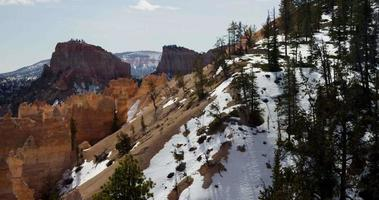 Horizontal panning shot of a red canyon and a snowy valleys in 4K video