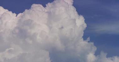 Time lapse of bright giant cumulus clouds moving on blue sky in 4K video