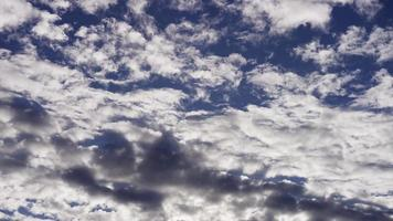 Time lapse of big group of altocumulus clouds moving on blue sky in 4K video