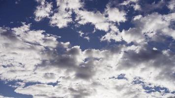 Lapso de tiempo del gran grupo de nubes altocúmulos grises moviéndose de derecha a izquierda en el cielo azul en 4k video