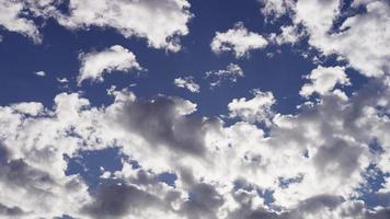 Time lapse of altocumulus clouds moving slowly on bright blue sky from right in 4K video