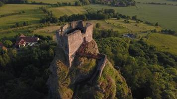 Drone footage - castle tower descending in 4K
