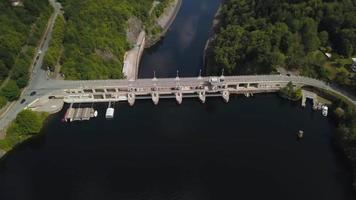 Dam wall front drone view in 4K