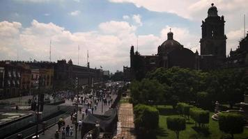 High View Of People Walking Near Main Square And Metropolitan Cathedral
