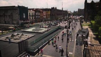 Time Lapse People And Old Buildings Near The Main Square Of Mexico City