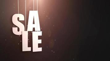 carta de ventas recién colgada de una cuerda con un hermoso fondo negro video