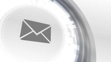 dirección de correo electrónico correo carta icono animación blanco elementos digitales tecnología fondo video