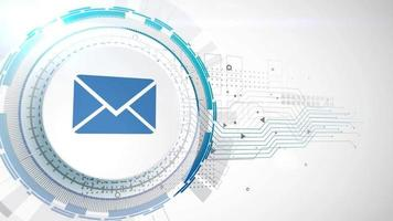 email address mail letter icon animation white digital elements technology background