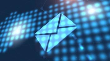 endereço de e-mail mail carta ícone animação azul mapa-múndi digital tecnologia fundo