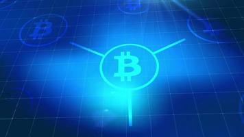 Bitcoin crypto-monnaie icône animation bleu éléments numériques technologie fond