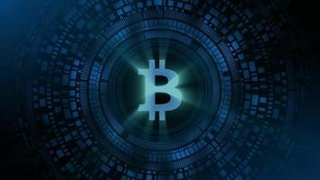 homem de negócios mão holograma hud projeção bitcoin criptomoeda ícone