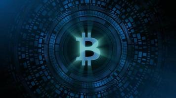 hombre de negocios mano holograma hud proyección bitcoin icono de criptomoneda