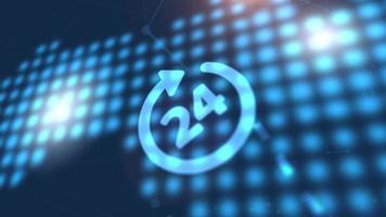 Botón de negocios Servicio 24 horas Red en línea Icono web Mapa mundial digital azul Fondo de tecnología