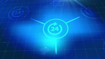 botón de negocios servicio 24 horas red en línea icono web elementos digitales azules fondo de tecnología