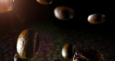 grãos de café torrados com pó de café caindo na frente de um fundo escuro. animação cg em câmera lenta 4k video