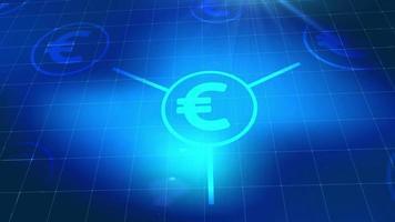euro moneda icono animación azul elementos digitales tecnología fondo