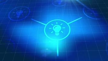 bombilla idea icono animación azul elementos digitales tecnología fondo