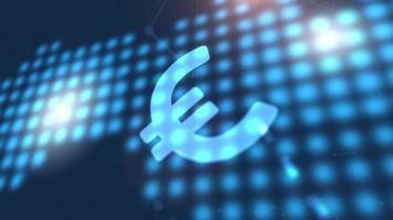 euro moneda icono animación azul mundo digital mapa tecnología fondo