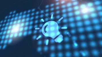 bombilla idea icono animación azul mundo digital mapa tecnología fondo