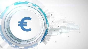 euro moneda icono animación blanco elementos digitales tecnología fondo