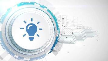 ampoule idée icône animation blanc éléments numériques technologie fond