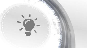 lâmpada ideia ícone animação branco digital elementos tecnologia fundo video