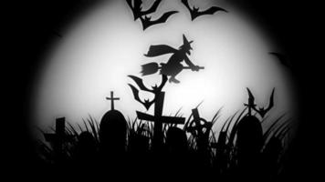 animation of a spooky cemetery with flying bats halloween
