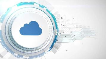 cloud data store icon animation white digital elements technology background