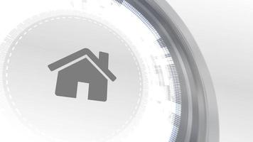 home house icon animation white digital elements technology background video