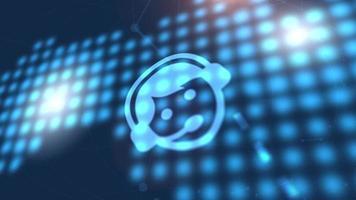 teléfono comunicación icono animación azul mundo digital mapa tecnología fondo