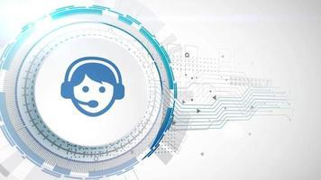 téléphone communication icône animation blanc éléments numériques technologie fond