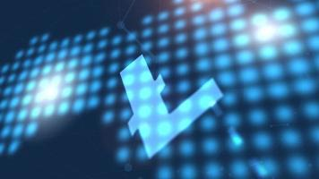 litecoin criptomoneda icono animación azul mundo digital mapa tecnología fondo