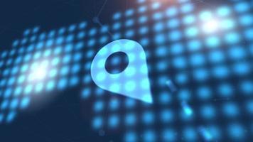 emplacement icône animation bleu numérique carte du monde technologie fond