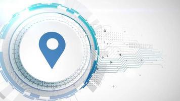 ubicación icono animación blanco elementos digitales tecnología fondo