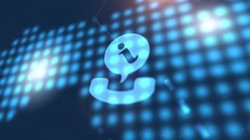 telefone comunicação ícone animação azul mapa-múndi digital fundo de tecnologia