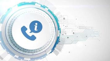 telefone comunicação ícone animação branco elementos digitais tecnologia fundo video