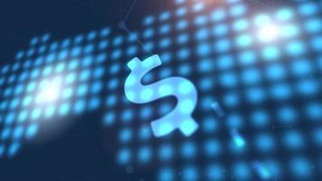 dólar moneda icono animación azul mundo digital mapa tecnología fondo
