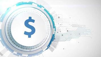 dólar moneda icono animación blanco elementos digitales tecnología fondo