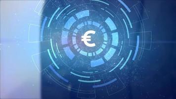 hombre de negocios mano holograma proyección hud icono de moneda euro