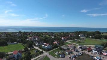 aerial view Vitte Hiddensee in Germany harbor island