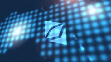 Ethereum klassische Kryptowährung Symbol Animation blau digitale Weltkarte Technologie Hintergrund video