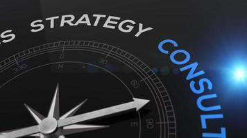 Compass with the text CONSULTING right path, concept video for good direction blue shiny background