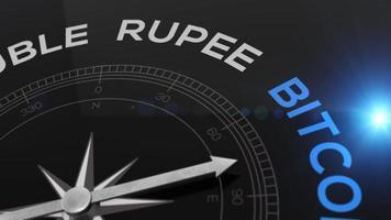 bússola com o texto do conceito de bitcoin - vídeo para fundo azul brilhante criptomoeda