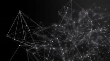 punti collegati astratti su sfondo nero brillante. concetto di tecnologia video