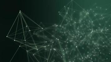 abstratos pontos conectados em fundo verde brilhante. conceito de tecnologia video
